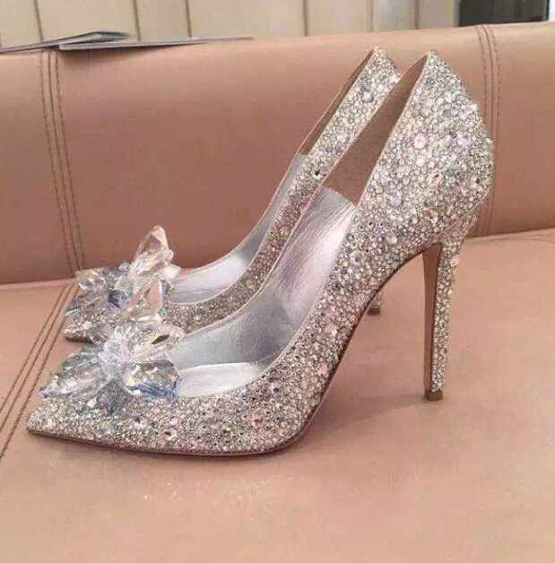 Fashion Week Celebrity Top Grade Cinderella Crystal Shoes Bridal Rhinestone Wedding Shoes With Flower woman thin high heels