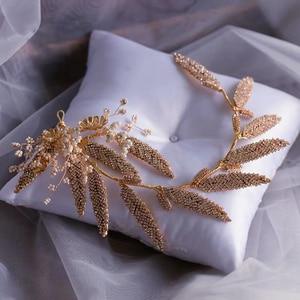 Image 4 - Korean Handmade Yarn Brides Headbands Rhinestone Soft Flower Bridal Hairbands Wedding Hair Accessories Evening Headdress