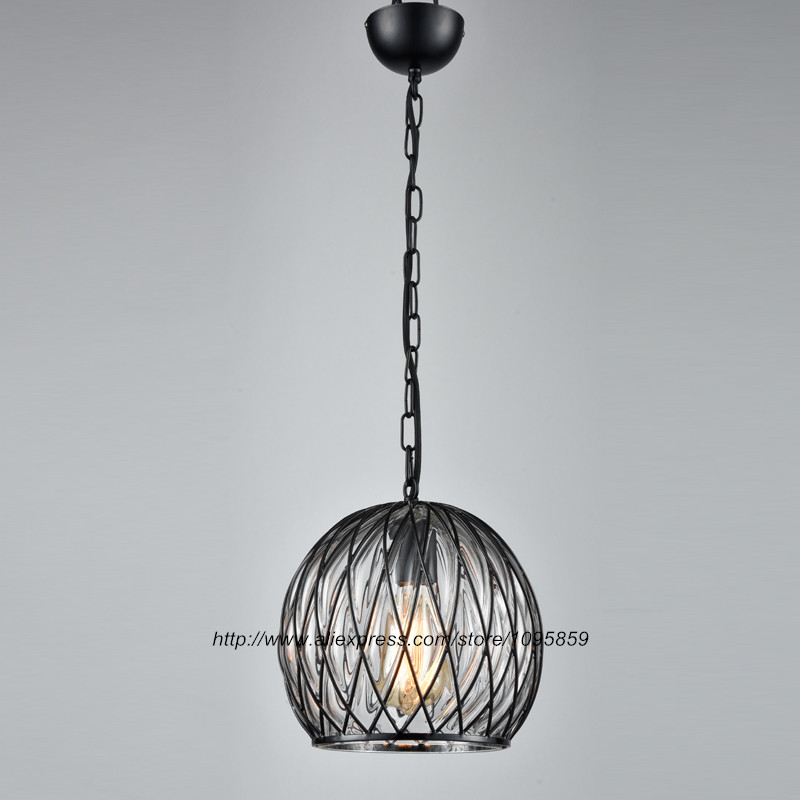 Vintage Retro Glass Ball Pendant Light Lamp Metal Cage Dining Room Ceiling Fixture Lighting 9lights e27 diy ceiling spider pendant lamp shade light antique classic adjustable retro chandelier dining home lighting fixture