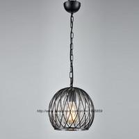 Vintage Retro Pendente Luce Palla di Vetro Lampada In Metallo Gabbia Soffitto Sala Da Pranzo Apparecchio di Illuminazione