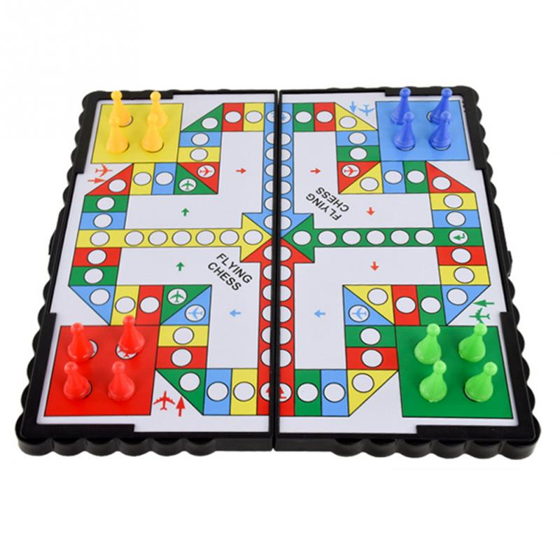 New Mini Portable Foldable Travel Magnetic Pegs Board Game Classic Kids Plastic Flying Chess Crawling Mat Flight Game