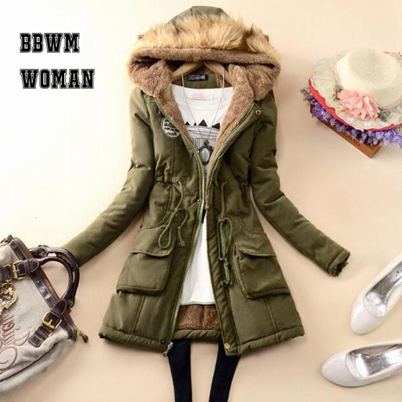 Winter Cheap 8 Color Can Choose Women   Parkas   2019 Lining with Villus Black Army Green Female Jacket ZO1689