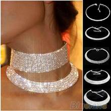 2016 Women Crystal Rhinestone Collar Necklace Choker Necklaces Wedding Birthday Jewelry AS8X(China)