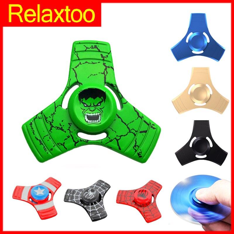 10 Styles Fidget Metal Spinner Hand EDC Tri pinner Finger Spiner Super Hero Hulk Iron Man