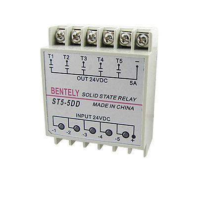 DC to DC Five 5 Phase Solid State Relay SSR 5A 24V DIN Rail Mount PN5-5DD