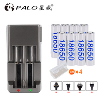 PALO Lii 500 100 202 402 300 1.2V AA AAA NiMH lithium battery Charger + 8 PCS 18650 Rechargeable Batteries
