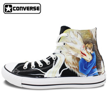 Hand Painted Shoes Man Woman Converse All Star Anime Natsume's Book of Friends Design Custom Black High Top Sneakers