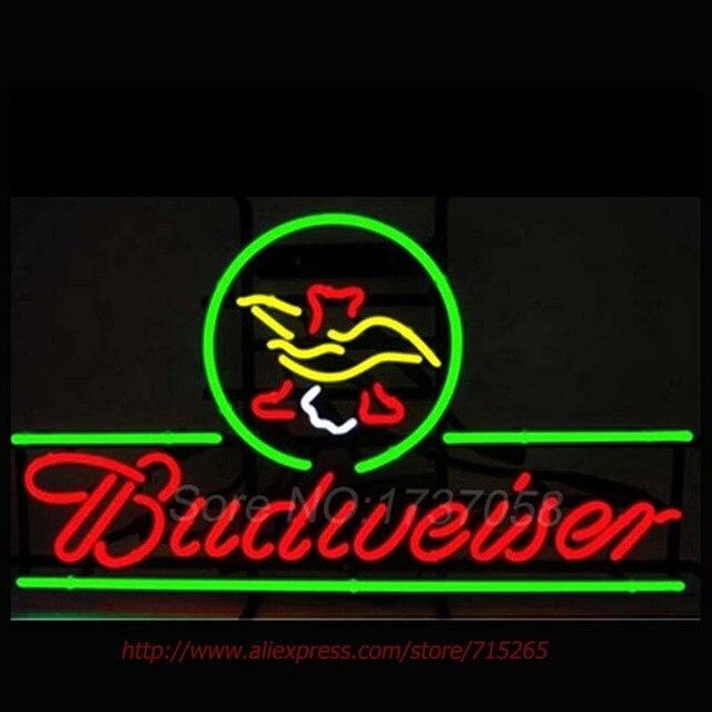 Neonzeichen Budweiser Adler Bier Neonröhren Neon Lampe Handcrafted Pub Bar Display Neonröhren Personalisierte Benutzerdefinierte LOGO Zeichen 19x15