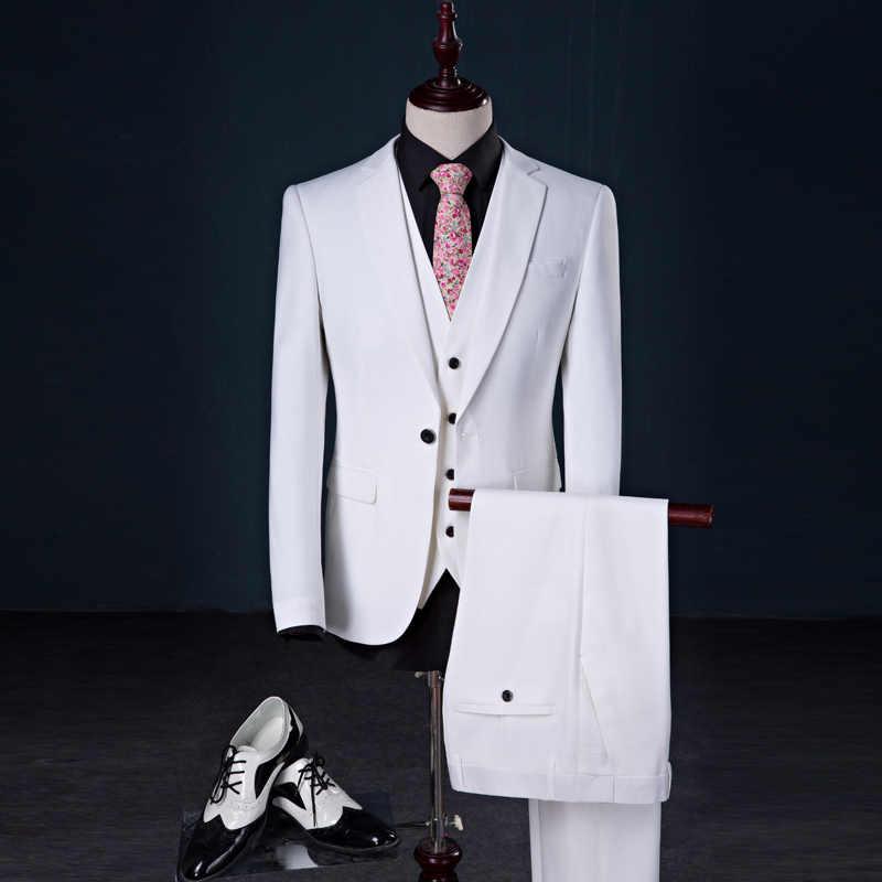 男性スーツ 2018 有名なブランドメンズスーツ結婚式新郎プラスサイズ S-5XL 3 ピース (ジャケット + ベスト + パンツ) スリムフィットカジュアルタキシードスーツ男性