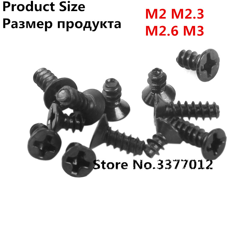 100pcs/lot Black tapping screw M2 M2.3 M2.6 M3 Flat cross countersunk head tapping screws KB болт 100pcs lot din7985 m2 5 8 2 100pcs lot din7985 m2 5 8mm