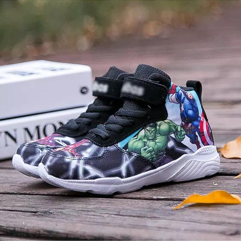 2019 baskets enfants pour garçons chaussures de basket-ball courir les Avengers bébé décontracté enfants chaussures Sport botte dessin animé gamin chaussure