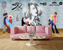 beibehang HD Interior Decor Wallpaper Modern Fashion Hand Painted Beauty Barber Shop Tooling wall papers home decor papier peint