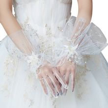 Women Bridal Wedding Mesh Gloves Glitter Star Sequins Faux Pearl Beading Feather Full Finger Short Wrist Mittens Party Costume