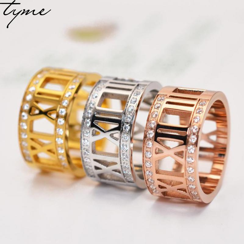 Titanium steel Roman Rose Gold-color Ring For woman men jewelry Male And Female Lovers On The Ring gold color Girls Jz-220