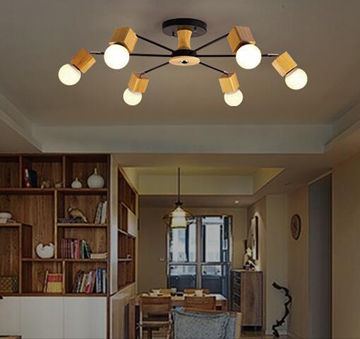 Bois Moderne LED plafond Luminaires Pour la maison Éclairage Chambre ...