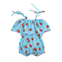 Sleeveless Infant Baby Girls Romper Jumpsuit Outfits Sunsuit Toddler Girl Strawberry Print Lovely Belt Rompers Sunsuits Clothing