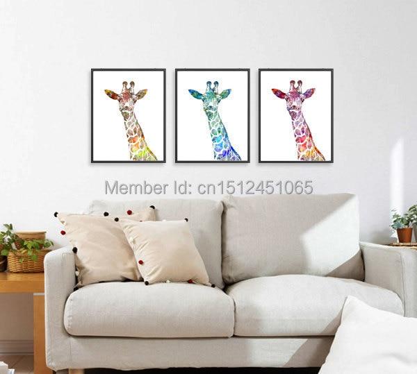 Modern abstract watercolor giraffe art print set kids wall decor home decor wall art picture - Modern kids wall decor ...