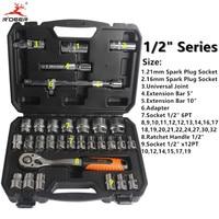 Socket Torque Ratchet Wrench 32pcs Set 1 2 Wrench Set 72T Chrome Vanadium Steel Repair Tools