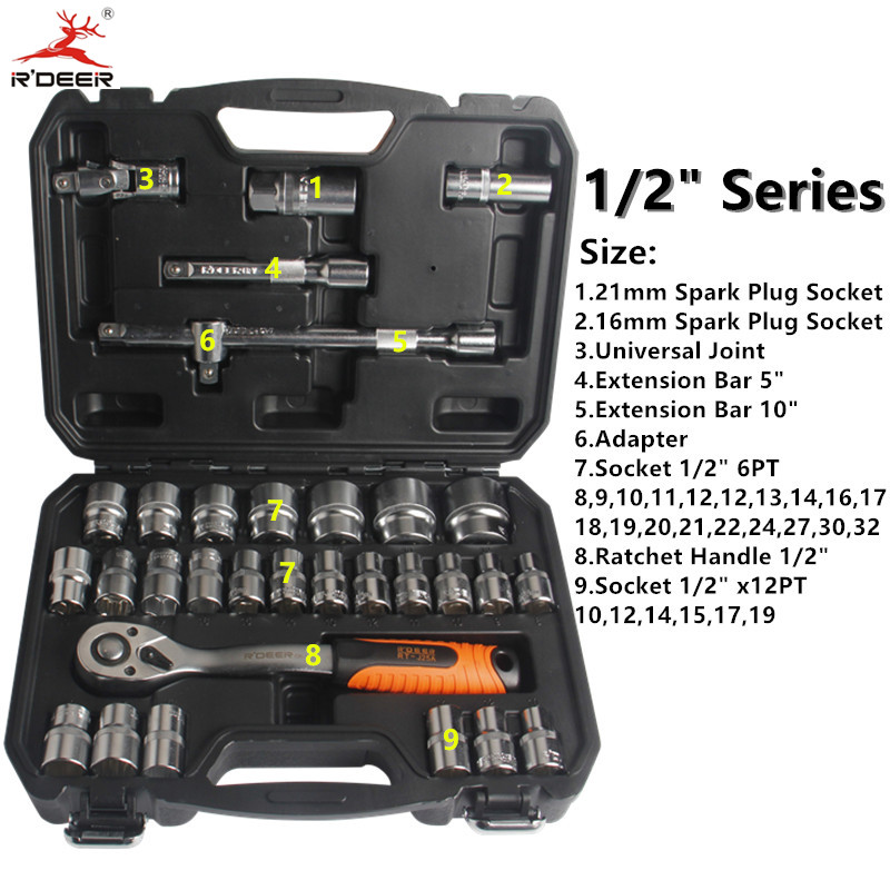 RDEER Socket Torque Ratchet Wrench 32pcs/Set  1/2 Wrench Set 72T Chrome Vanadium Steel Repair Tools Hand Tool Set 8 pcs flex head ratchet wrench set ratcheting wrench hand tool set 8 19mm chrome vanadium
