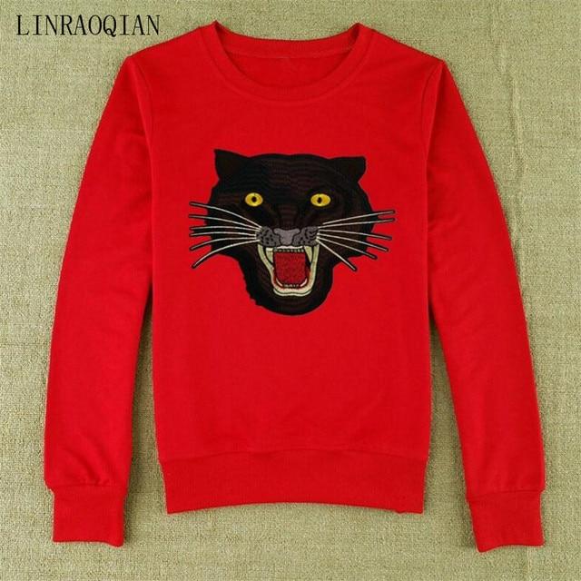 LINRAOQIAN Autumn Long Sleeve T Shirt Women Fashion Embroidery Tiger Head Tshirt  Women Cotton Tops Female Shirts Camisetas Mujer 7350af6fb661