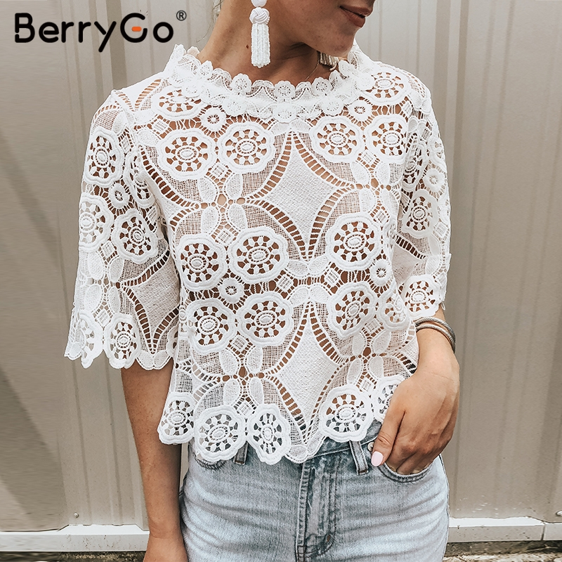 BerryGo Embroidery lace   blouse   summer   blouse     shirt   women   blouse   2019 Floral short sleeve feminine   blouse   Sexy ladies crop tops