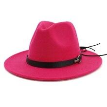 QIUBOSS Women Wide Brim Wool Felt Jazz Fedora Hats Panama Style Ladies Trilby Gambler Hat Fashion Party Cowboy Sunshade Cap