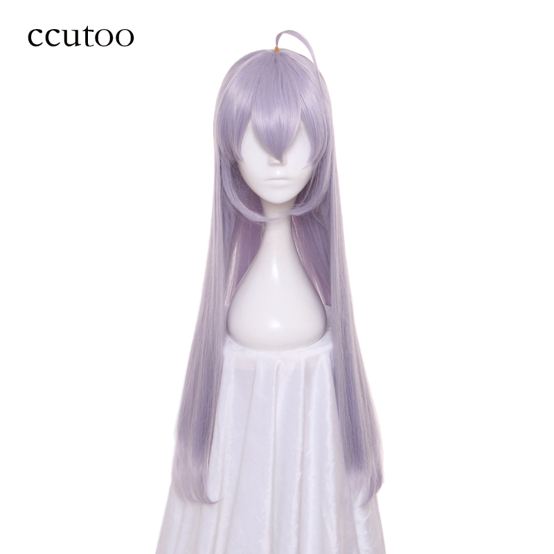 ccutoo Akashic Records of Bastard Magic Instructor Sistine Fibel Long Straight Silver Grey Purple Mix Synthetic Cosplay Wig