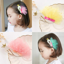 Hot Children Girls Swan Headdress Flamingo Hairpins With Sequin Mesh Crown Kids Princess Tiaras Hair Clips(China)