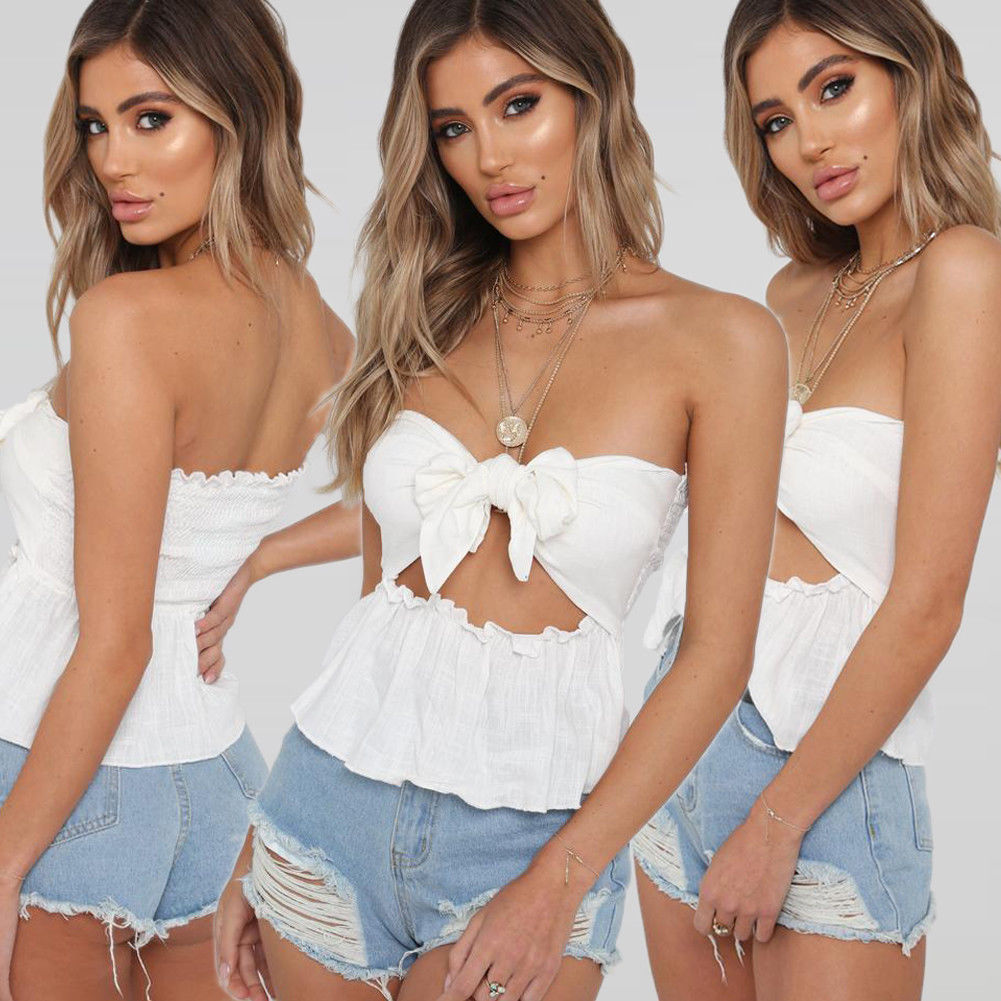 Sexy Women Clothes Summer Tops Blouses Bowknot Strapless Casual Off Shoulder Tank Vest Top Crop Top