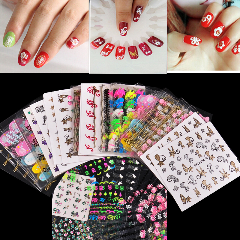 Biutee 50 Sheet Beauty Floral Design Patterns Nail Stickers Mixed Decals Transfer Manicure Tips 3D Nail Art Decorations 1pcs water nail art transfer nail sticker water decals beauty flowers nail design manicure stickers for nails decorations tools