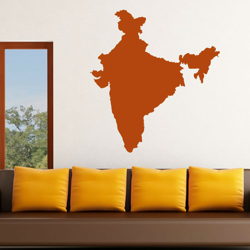 Vinyl India Map Wall Sticker Removable Living Room Decor Decal For Sofa Background