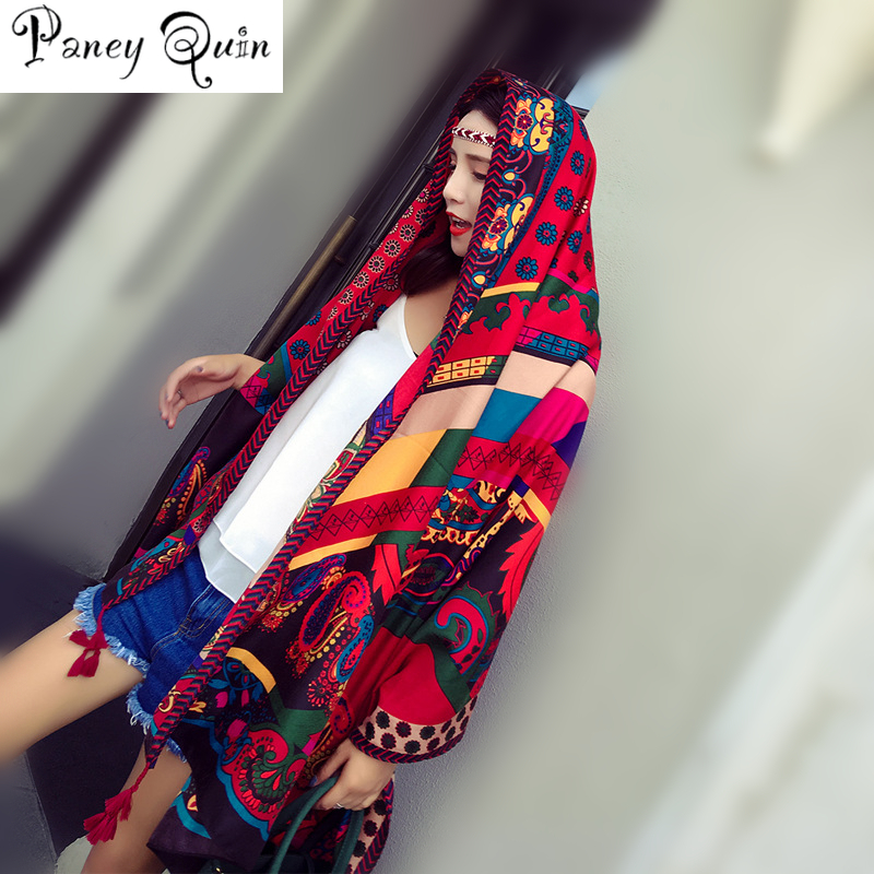 Ethnic style   scarf   women vintage print shawl   wrap   large size pashmina foulard bandana spring summer beach travel   scarf   women