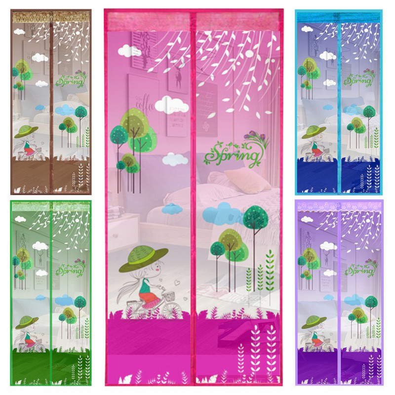 Anti Strips Mosquito Magnetic Screen Door Cartoon Pattern Printed Automatically Shut Mesh Curtain 2018 New