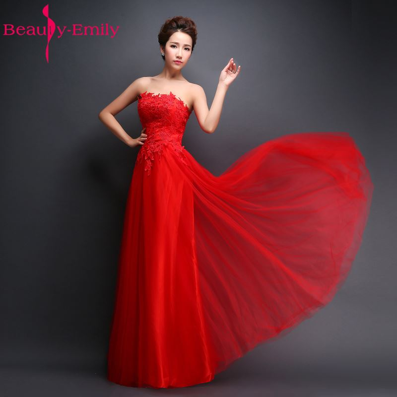 Beauty-Emily Red Satin Strapless Lace Embroidery Long   Evening     Dresses   2018 Bridal Married Sexy Plus Size Formal Prom   Dresses