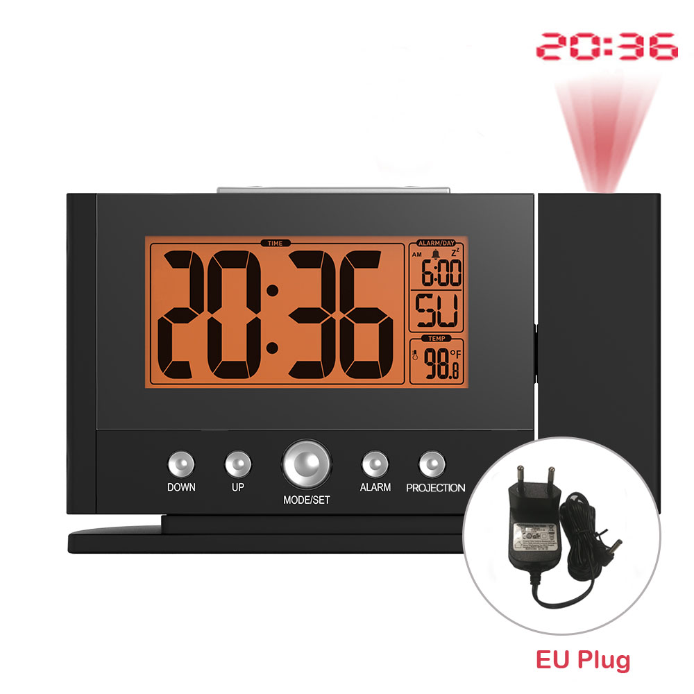 Baldr LCD Digital Projection Clock Alarm Snooze Constant Time Wall Ceiling Projector Temperature Sensor Desk Thermometer EU PlugBaldr LCD Digital Projection Clock Alarm Snooze Constant Time Wall Ceiling Projector Temperature Sensor Desk Thermometer EU Plug
