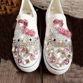 Hand Made Cartoon Cat Crystal Canvas Shoes Women Lazy Pedal Thick Bottom Shoes Loafer Shoes Women Kitty Rhinestone Canvas Shoes