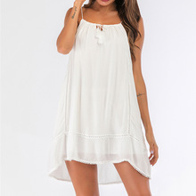 Summer Beach Party White Loose Dress Sleeveless A-line Mini Dresses women's Casual Short One-piece Shorts Pants