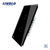 US Standard Livolo Black Crystal Glass Panel Remote Switch AC 110 LED Indicator VL C502R 12