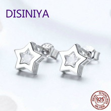 Authentic 925 Sterling Silver Sparkling Clear CZ Stars Women Drop Earrings Wedding Fashion Jewelry S925 Brincos BKE437