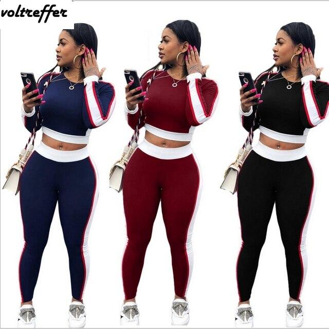 2 Piece Set Women Crop Top And Pants Bodycon Bodysuit Patchwork 2018