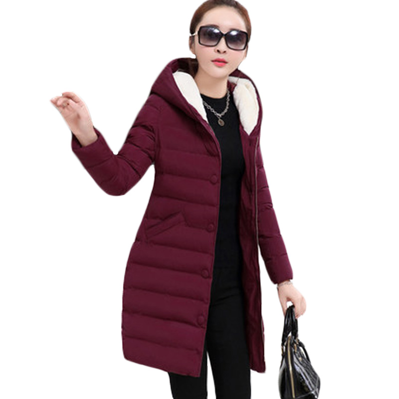 Luxury Women Lady Elegant Warm Winter Coat Medium Long Jacket Slim Hooded Padded   Parka   Overcoat Outwear Black Army Green XH418