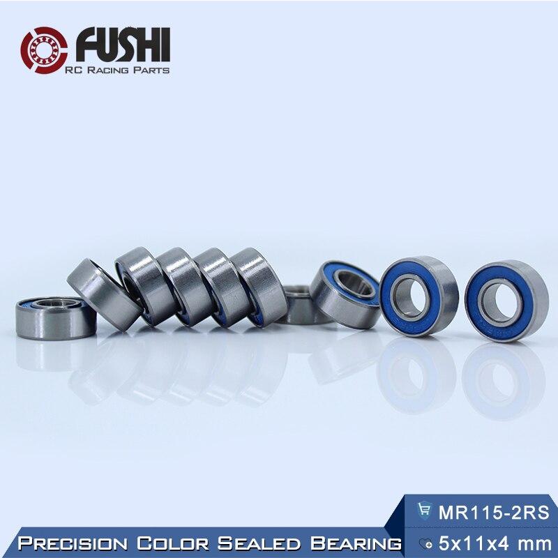 MR115RS Bearing ABEC-3 (10PCS) 5X11X4 mm Miniature MR115-2RS Ball Bearings Blue Sealed MR115 2RS Bearing 1pcs 71822 71822cd p4 7822 110x140x16 mochu thin walled miniature angular contact bearings speed spindle bearings cnc abec 7