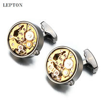2017 New Functional Watch Movement Cufflinks Stainless Steel Steampunk Gear Watch Mechanism Cuff links for Mens With Gift Box