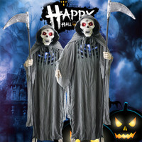 Украшения ужастики для хеллоуина контроль звука череп серпы куклы светящиеся игрушки на Хэллоуин вечерние 185 см высокий страшный призрак п