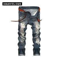 Manvelous Worn Hole Denim Blue Jeans Mens 2017 Lightweight Straight Full Length Male Trousers Knee Zippered