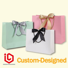 luxury ribbon paper gift bag customized-designed gold hot stamping logo(China)