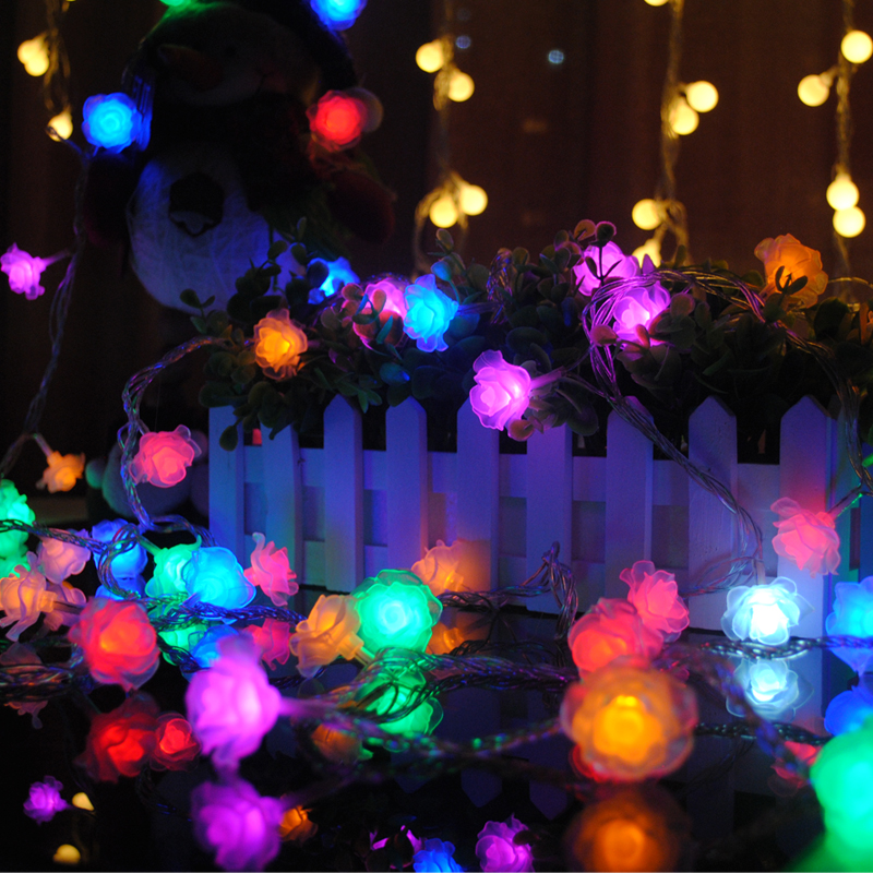 LED Rose Light String Artificial Flower Battery Power Christmas Wedding Party Fairy Rose Flower Holiday Decoration