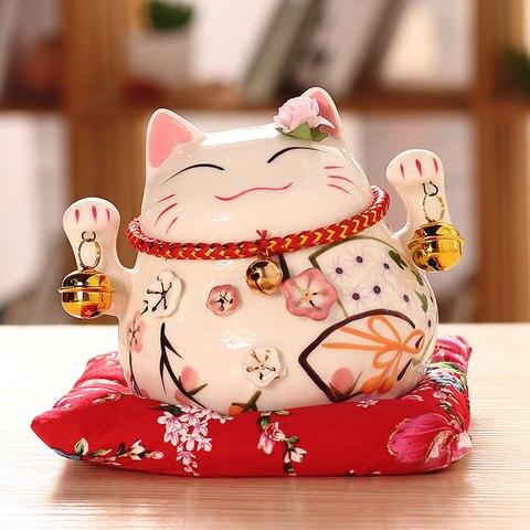 Polegada de Cerâmica Enfeites de Porcelana Caixa de Dinheiro 4.5 Gato Sorte Casa Decoração Empresas Presentes Maneki Neko Fortuna Gato Artesanato Fengshui