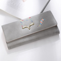 YISHEN Women Wallet Nubuck Leather Card Coin Holder Cute Fox Ladies Clutch Wallets Fashion Cash Pocket