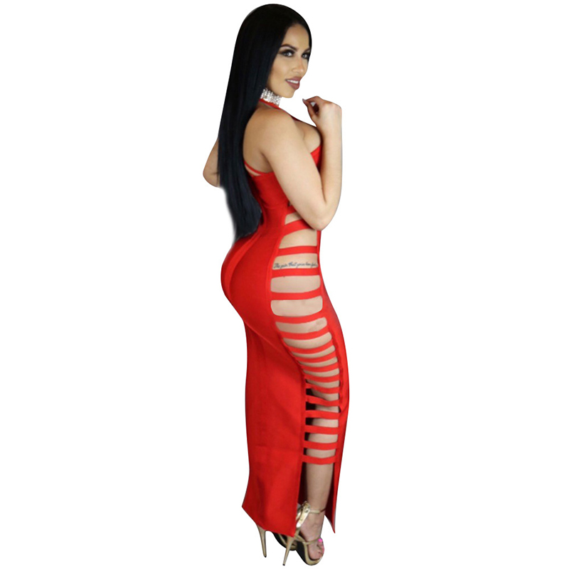 Red and white striped backless dress